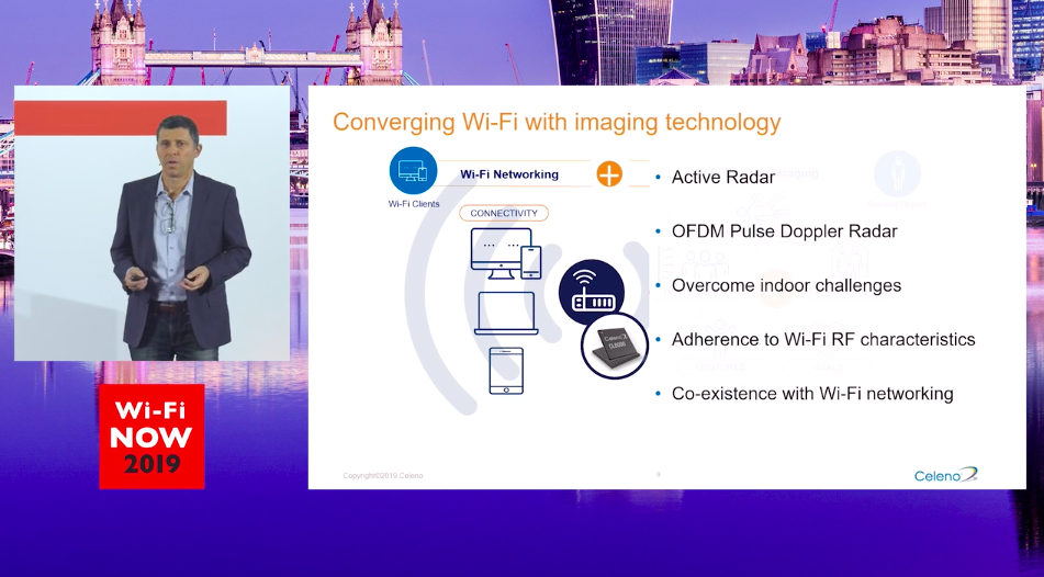 "Lior Weiss, VP Marketing at Celeno presents ""Active Wi-Fi-based Doppler imaging & sensing"" at Wi-Fi NOW 2019"